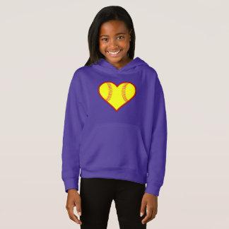 Girls Cute Softball Heart Hoodie Sweatshirt