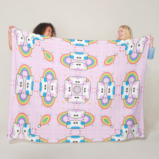 Girl's Cute Unicorn Kitty Rainbow Mandala Fleece Blanket