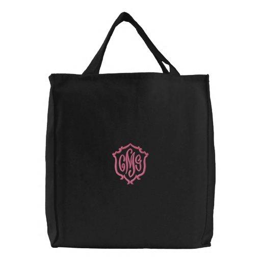 Girls Dark Embroidered Monogram Canvas Tote Bag