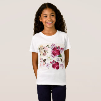 Girls designers tshirt with Folk flowers