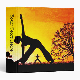Girls Doing Yoga At Sunset Silhouette Personalized 3 Ring Binder
