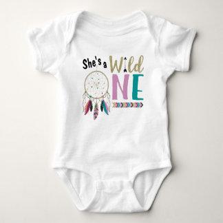 Girls Dreamcatcher Wild ONE 1st Birthday Outfit Baby Bodysuit