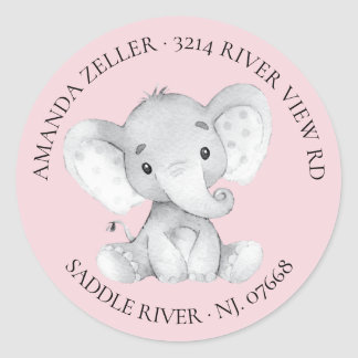 Girls Elephant Baby Shower Return Address Label