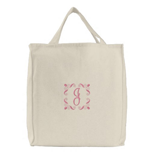Girls Embroidered Initial Canvas Tote Bag