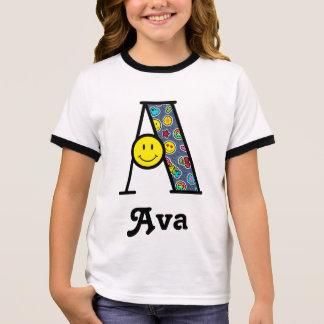 Girls Emoji Birthday Party Shirt Initial A