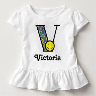 Girls Emoji Top Girls Monogram Shirt Initial V