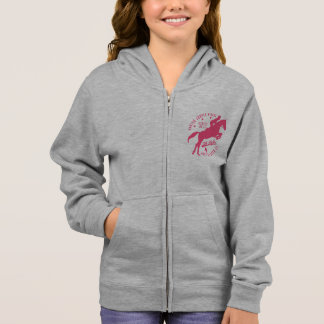 Girls Equestrian Hunter Jumper Horse Hoodie White
