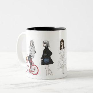 Girl's fashion transformation Two-Tone coffee mug