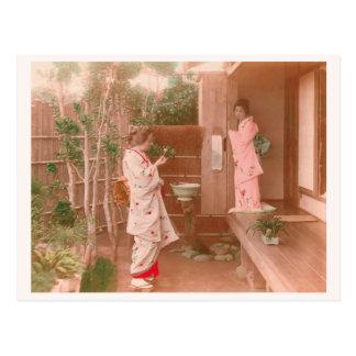 """Girls' Feelings"" quaint woman's heart Japanese Postcard"