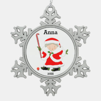 Girls Field Hockey Pewter Snowflake Ornament