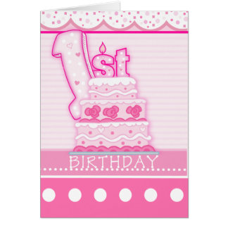 Girls First Birthday Greeting Card