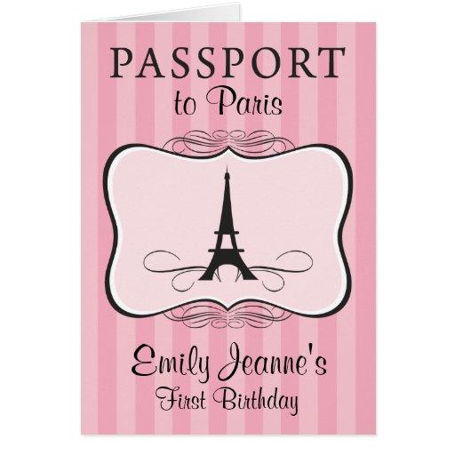 Girls First Birthday Paris Passport Invitation Cards