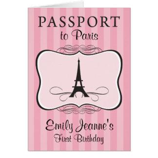 Girls First Birthday Paris Passport Invitation Note Card