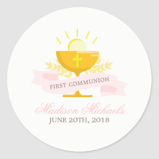 Girls First Holy Communion Classic Round Sticker