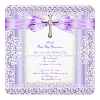 "Girls First Holy Communion Cross Pretty Lavender 2 5.25"" Square Invitation Card"