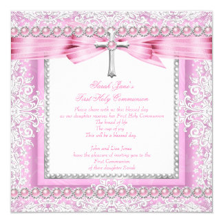 "Girls First Holy Communion Cross Pretty Pink Pearl 5.25"" Square Invitation Card"