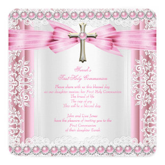 "Girls First Holy Communion Cross Pretty Pink White 5.25"" Square Invitation Card"