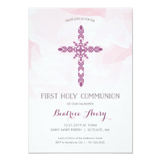 Girl's First Holy Communion Invitation, Watercolor Card