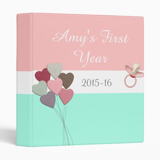 Girl's First Year Baby Album, Hearts and Pacifier Vinyl Binders