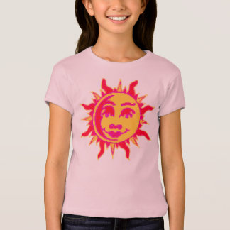 Girls Fitted T Shirt with Sun Motif