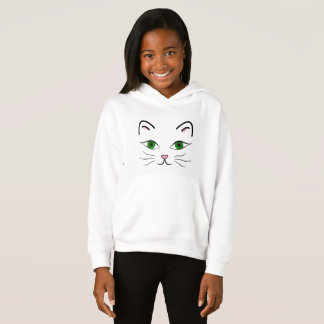 Girl's Fleece Pullover Hoodie - Kitty Face