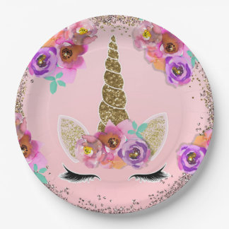 Girls Floral & Gold Glitter Unicorn Birthday Party Paper Plate