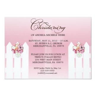 Girl's Floral Mason Jar Christening/Baptism Invita Card
