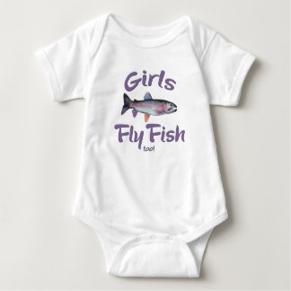 Girls Fly Fish too! Rainbow Trout Fly Fishing Baby Bodysuit