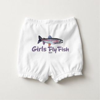Girls Fly Fish too! Rainbow Trout Fly Fishing Diaper Cover