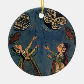 Girls flying kites, Kulu folk painting, Himachal P Round Ceramic Ornament