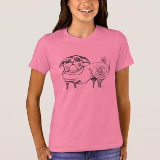 Girls Funky Pug Sketch Tee - Pink