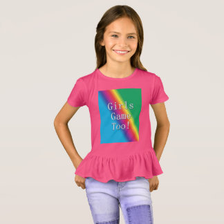 Girls Game Too Rainbow Ruffle Shirt