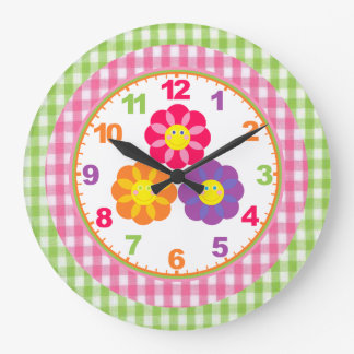 Girls Gingham Flower Clock with Numbers