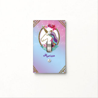 Girls Gold Pink Purple Magical Unicorn Light Switch Cover