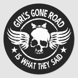 Girl's Gone Road Classic Round Sticker
