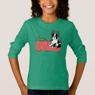 Girls Green Boston Terrier Christmas Shirt