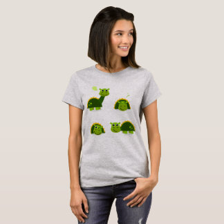 Girls grey t-shirt with Little dinos