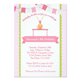 Girls Gymnastics Birthday Invitation