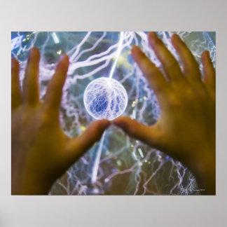 Girls hands on a plasma ball poster
