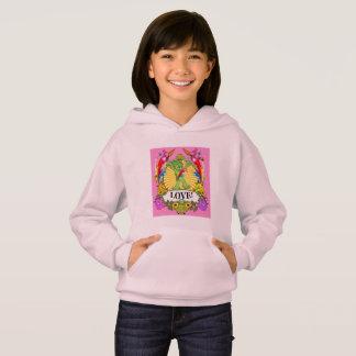 Girls' Hanes Hoodie -  Munchi Power! LOVE HEARTS