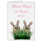 (Girl's) Happy 1st Easter card. Card