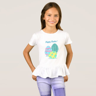 Girls Happy Easter Colourful Eggs Ruffle T-Shirt
