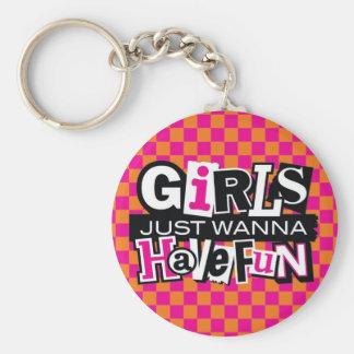 Girls Have Fun Basic Round Button Keychain