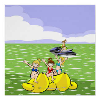 Girls having fun in Jet ski and Banana boat Poster