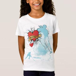 Girls Hockey Heart Tattoo T-Shirt
