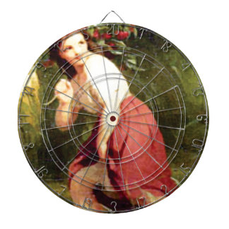 girls hold cherry branch dartboard