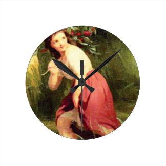 girls hold cherry branch round clock