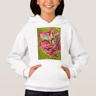 Girls Hoodie Sweatshirt with Colorful Cat Design