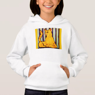 Girls Hoodie Sweatshirt with Yellow Cat Design