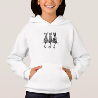 Girls Hoodie with Three Black and White Cats